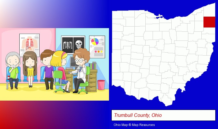 a clinic, showing a doctor and four patients; Trumbull County, Ohio highlighted in red on a map