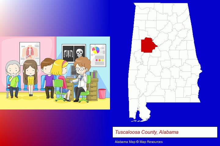 a clinic, showing a doctor and four patients; Tuscaloosa County, Alabama highlighted in red on a map