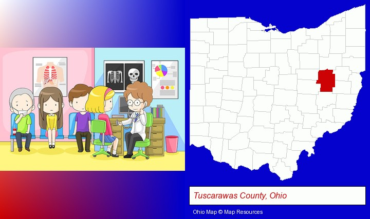 a clinic, showing a doctor and four patients; Tuscarawas County, Ohio highlighted in red on a map