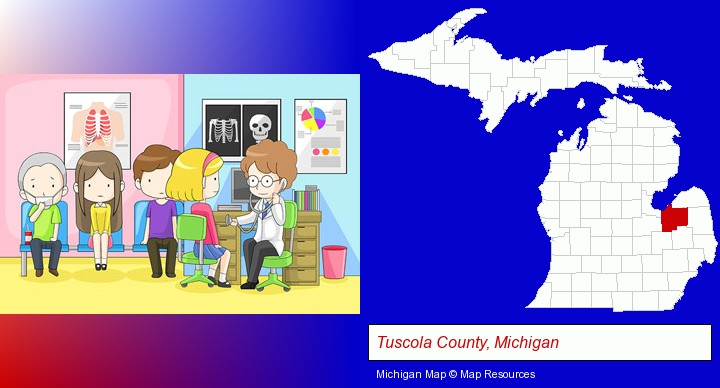 a clinic, showing a doctor and four patients; Tuscola County, Michigan highlighted in red on a map