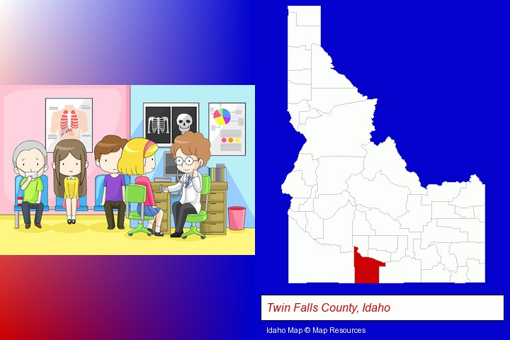 a clinic, showing a doctor and four patients; Twin Falls County, Idaho highlighted in red on a map
