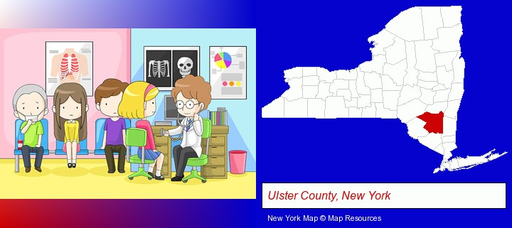 a clinic, showing a doctor and four patients; Ulster County, New York highlighted in red on a map
