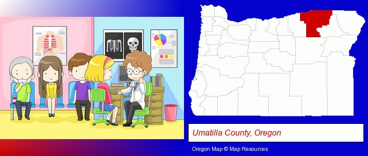 a clinic, showing a doctor and four patients; Umatilla County, Oregon highlighted in red on a map