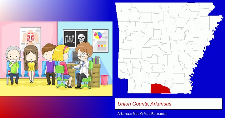 a clinic, showing a doctor and four patients; Union County, Arkansas highlighted in red on a map