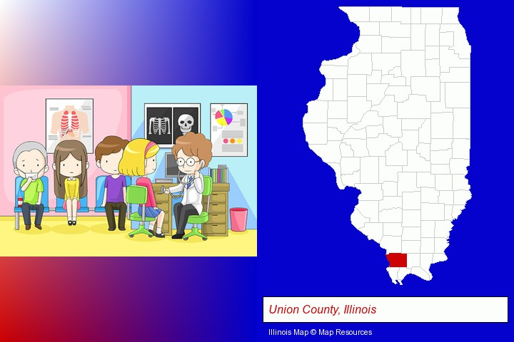 a clinic, showing a doctor and four patients; Union County, Illinois highlighted in red on a map