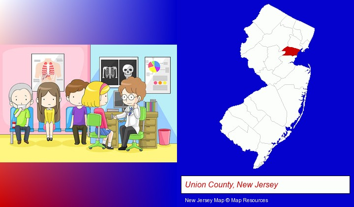 a clinic, showing a doctor and four patients; Union County, New Jersey highlighted in red on a map