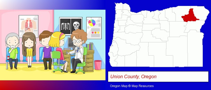 a clinic, showing a doctor and four patients; Union County, Oregon highlighted in red on a map