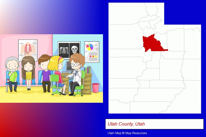 a clinic, showing a doctor and four patients; Utah County, Utah highlighted in red on a map