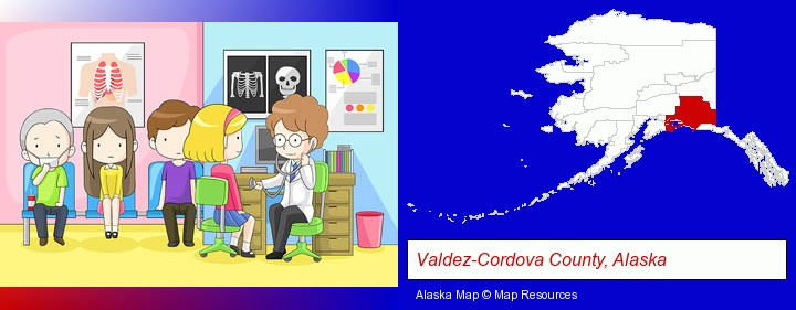 a clinic, showing a doctor and four patients; Valdez-Cordova County, Alaska highlighted in red on a map