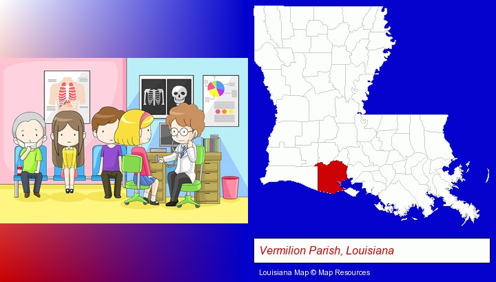 a clinic, showing a doctor and four patients; Vermilion Parish, Louisiana highlighted in red on a map