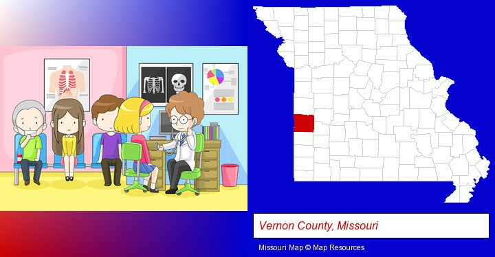 a clinic, showing a doctor and four patients; Vernon County, Missouri highlighted in red on a map