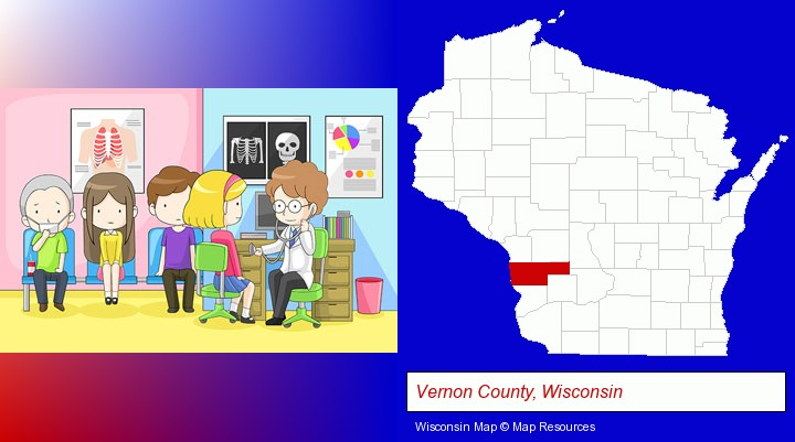 a clinic, showing a doctor and four patients; Vernon County, Wisconsin highlighted in red on a map
