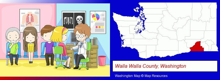 a clinic, showing a doctor and four patients; Walla Walla County, Washington highlighted in red on a map