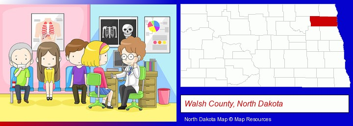 a clinic, showing a doctor and four patients; Walsh County, North Dakota highlighted in red on a map