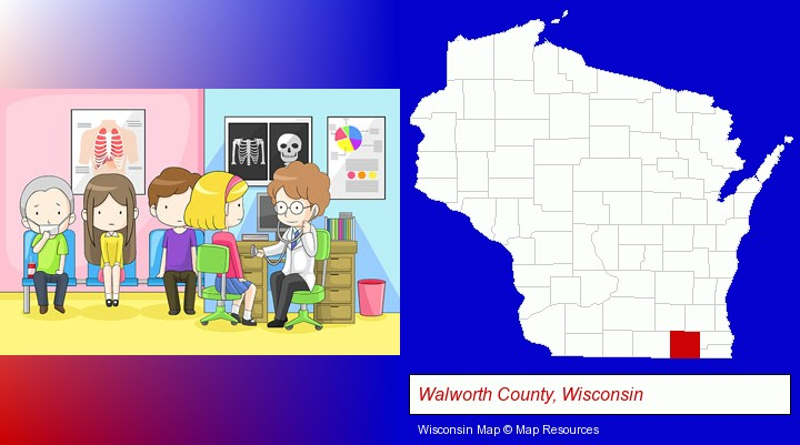 a clinic, showing a doctor and four patients; Walworth County, Wisconsin highlighted in red on a map