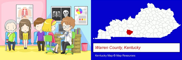 a clinic, showing a doctor and four patients; Warren County, Kentucky highlighted in red on a map