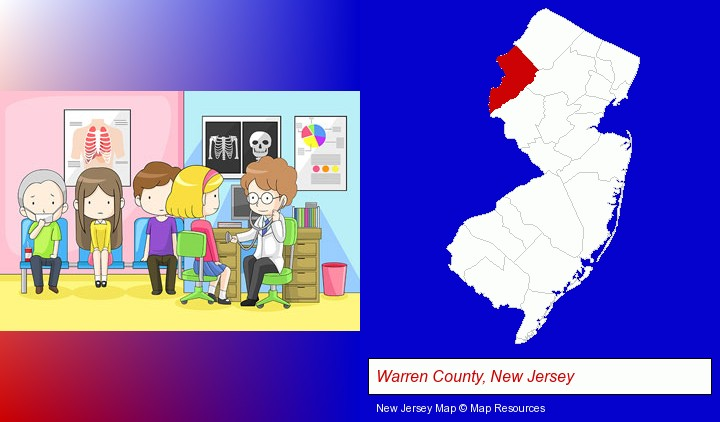 a clinic, showing a doctor and four patients; Warren County, New Jersey highlighted in red on a map