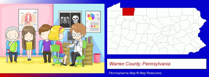 a clinic, showing a doctor and four patients; Warren County, Pennsylvania highlighted in red on a map