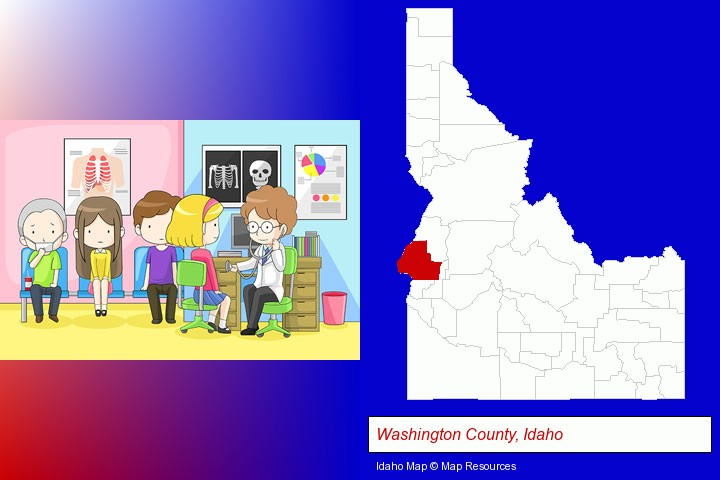 a clinic, showing a doctor and four patients; Washington County, Idaho highlighted in red on a map