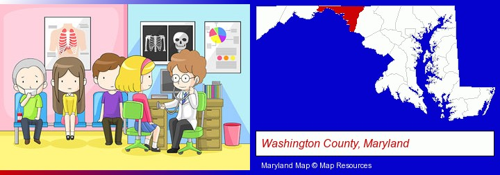 a clinic, showing a doctor and four patients; Washington County, Maryland highlighted in red on a map