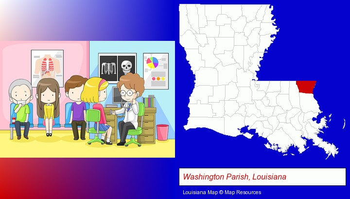 a clinic, showing a doctor and four patients; Washington Parish, Louisiana highlighted in red on a map