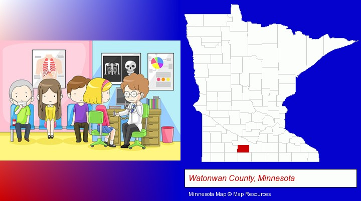 a clinic, showing a doctor and four patients; Watonwan County, Minnesota highlighted in red on a map