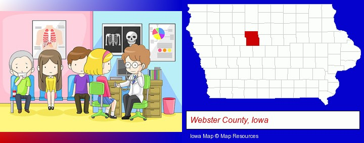 a clinic, showing a doctor and four patients; Webster County, Iowa highlighted in red on a map