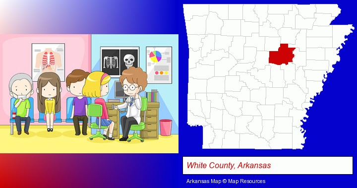 a clinic, showing a doctor and four patients; White County, Arkansas highlighted in red on a map