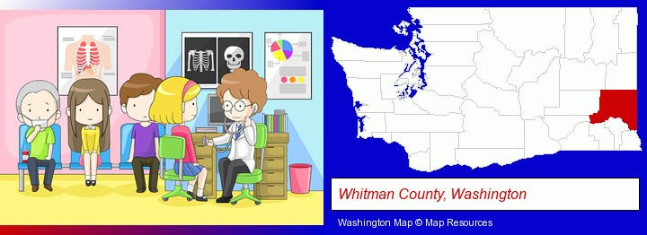 a clinic, showing a doctor and four patients; Whitman County, Washington highlighted in red on a map