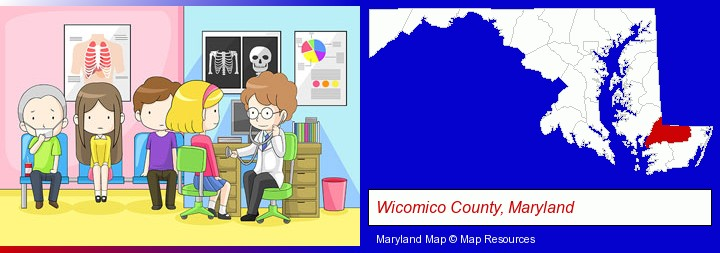 a clinic, showing a doctor and four patients; Wicomico County, Maryland highlighted in red on a map