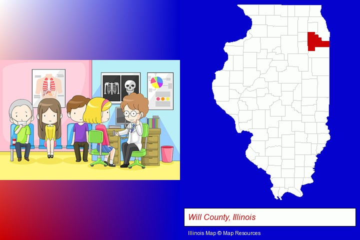 a clinic, showing a doctor and four patients; Will County, Illinois highlighted in red on a map