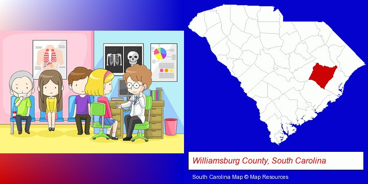 a clinic, showing a doctor and four patients; Williamsburg County, South Carolina highlighted in red on a map