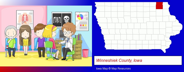 a clinic, showing a doctor and four patients; Winneshiek County, Iowa highlighted in red on a map