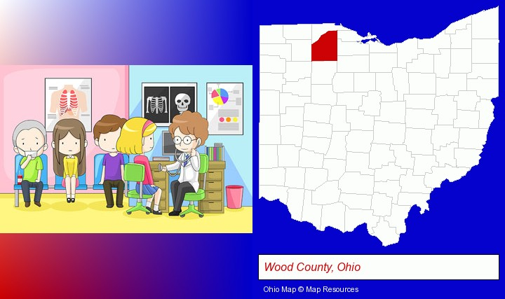 a clinic, showing a doctor and four patients; Wood County, Ohio highlighted in red on a map