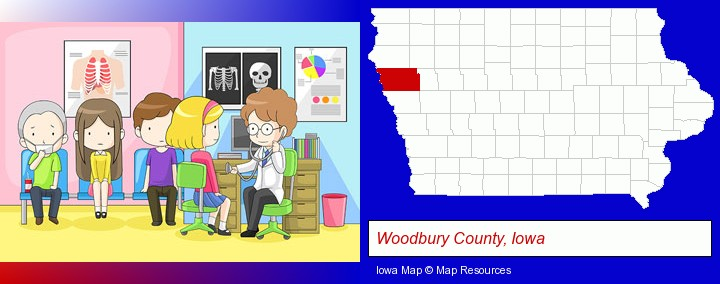 a clinic, showing a doctor and four patients; Woodbury County, Iowa highlighted in red on a map