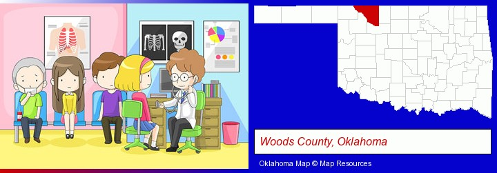 a clinic, showing a doctor and four patients; Woods County, Oklahoma highlighted in red on a map