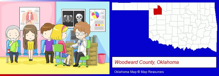 a clinic, showing a doctor and four patients; Woodward County, Oklahoma highlighted in red on a map