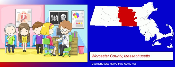 a clinic, showing a doctor and four patients; Worcester County, Massachusetts highlighted in red on a map