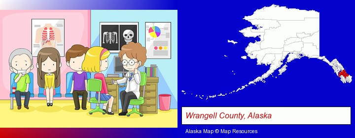 a clinic, showing a doctor and four patients; Wrangell County, Alaska highlighted in red on a map