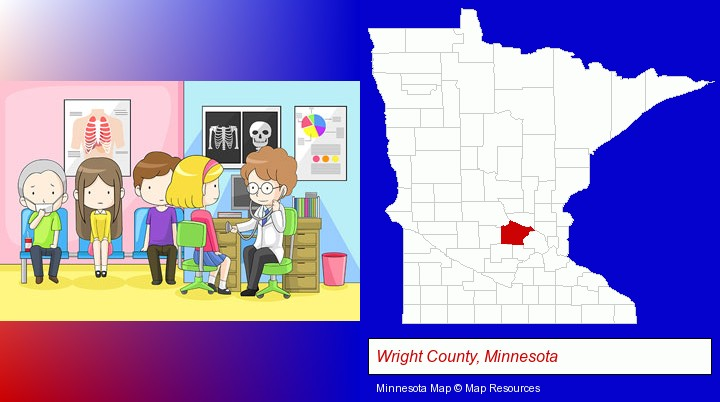 a clinic, showing a doctor and four patients; Wright County, Minnesota highlighted in red on a map