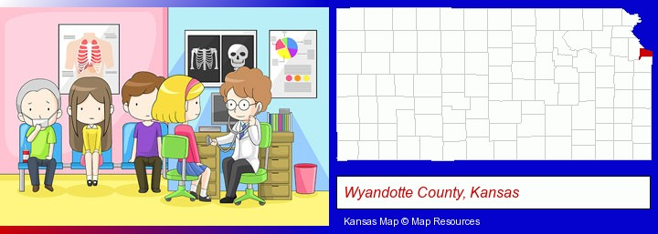 a clinic, showing a doctor and four patients; Wyandotte County, Kansas highlighted in red on a map