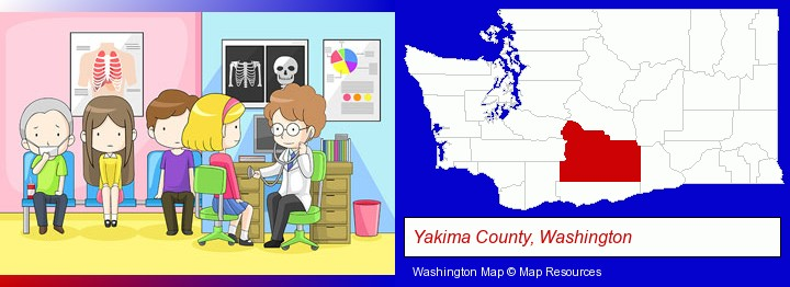 a clinic, showing a doctor and four patients; Yakima County, Washington highlighted in red on a map