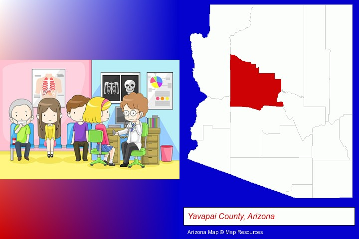 a clinic, showing a doctor and four patients; Yavapai County, Arizona highlighted in red on a map