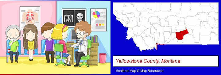 a clinic, showing a doctor and four patients; Yellowstone County, Montana highlighted in red on a map