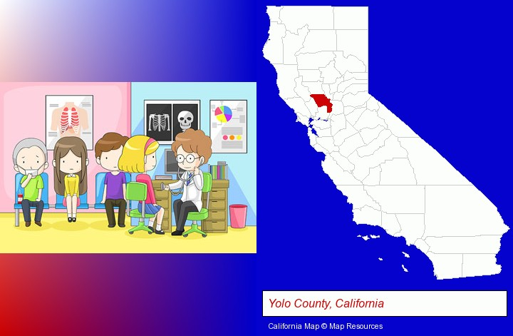 a clinic, showing a doctor and four patients; Yolo County, California highlighted in red on a map