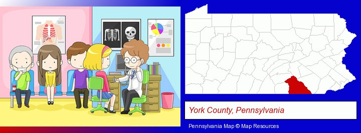 a clinic, showing a doctor and four patients; York County, Pennsylvania highlighted in red on a map