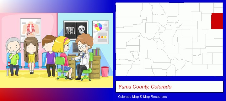 a clinic, showing a doctor and four patients; Yuma County, Colorado highlighted in red on a map